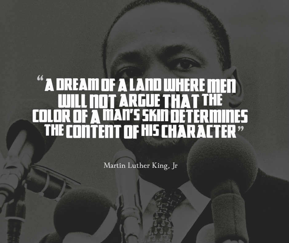 Martin Luther King Jr Quote on Equality regarding the color of ones skin